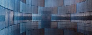 A photograph of indigo cloth artwork