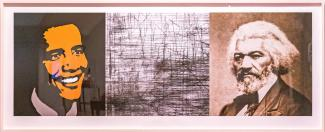A photograph of an artwork with three pictures.