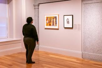 A photograph of a person looking at artwork
