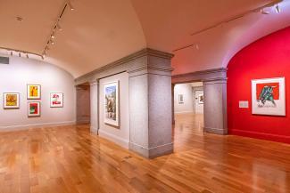 A photograph of artwork in an art gallery.