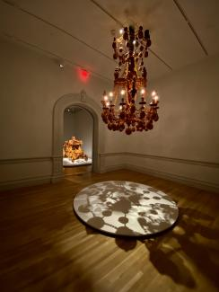 An installation photograph of a chandelier
