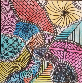 An abstract colorful square drawing with lattice-like patterns