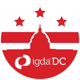 Logo with red and white Ditrict of Colombia flag with the capitol building superimposed over it