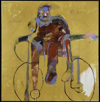 Abstract painting with a red and purple human figure sitting in a wheelchair against a yellow backdrop