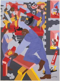 Blue and red graphic painting of men doing construction work