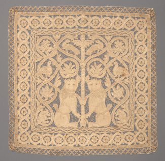A lace panel with two lions.