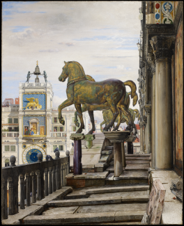 A painting of four bronze statues of horses standing on pedestals.