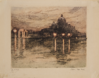 An etching of an evening scene in Venice. A large building is visible across the water in the foreground.