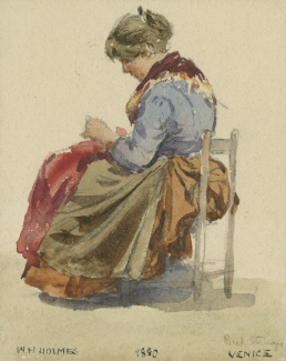 A watercolor of a woman wearing a long dress and seated in a chair leaning over something she is holding in her hands.