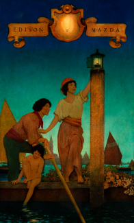 An illustration of a man, woman, and child in a boat at nightfall. The woman is reaching up to light a lamp.