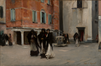 A painting of women wearing black shawls and long dresses walking on a street.