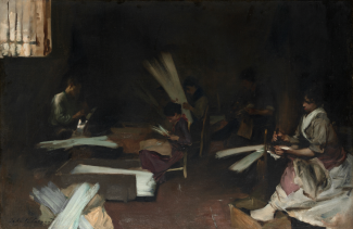 A painting of a group of young women seated in a dark room and leaning over long white strips of material.
