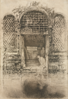 An etching of a large open door next to a canal. A girl is leaning out of the doorway toward the river.
