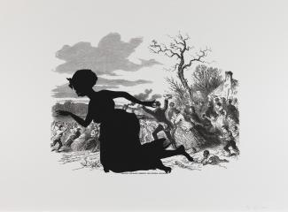 Kara Walker's work of a civil war scene and a black silhouette of a woman in front.