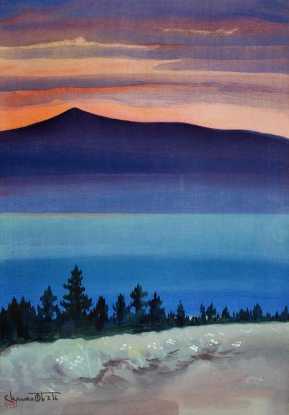 An artwork of a landscape with trees, water, and a mountain with the sunset behind it.