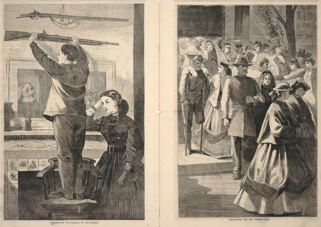 Thanksgiving Day--Hanging up the Musket/Thanksgiving Day--The Church Porch, from Frank Leslie's Illustrated Newspaper, December 23, 1865