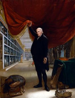 An oil on canvas of a man lifting a curtain into his museum
