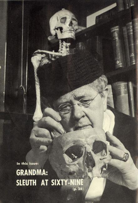 A magazine cover of Frances Glessner Lee working on a skull. (26 of 26)