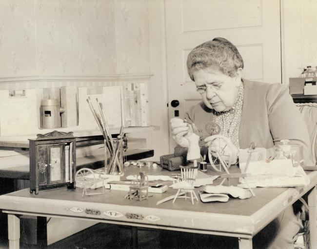 A photograph of Frances Glessner Lee at work on a Nutshell in the early 1940s. (25 of 26)
