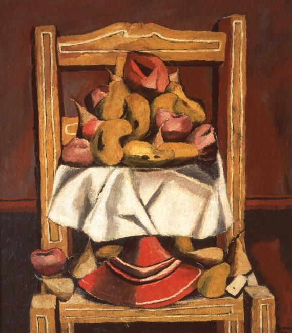 Oil on canvas of a yellow chair with fruit on top of it.  (14 of 15)