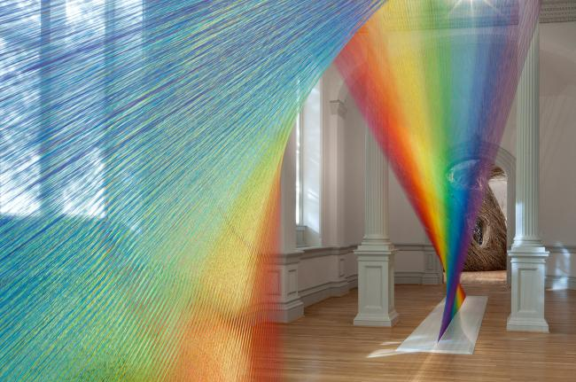 A rainbow of color created by weaving string together for WONDER at the Renwick Gallery. (4 of 18)