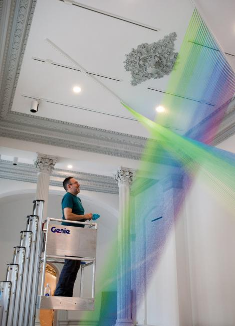 Gabriel Dawe installing Plexus A1 for WONDER at the Renwick Gallery. (3 of 18)