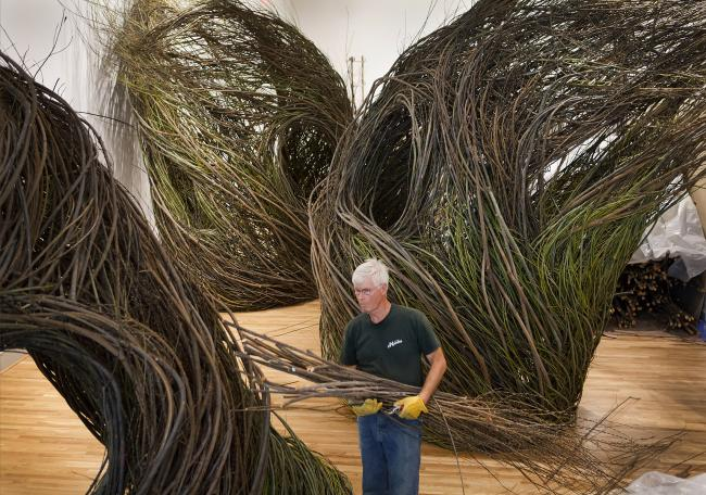 A photograph of Patrick Dougherty installing Shindig at the Renwick Gallery for WONDER. (17 of 18)