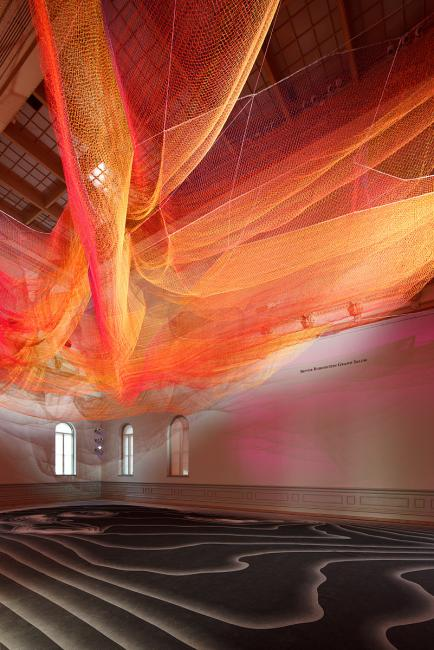 A photograph of a woven sculpture installed in the grand salon for WONDER at the Renwick Gallery.  (16 of 18)