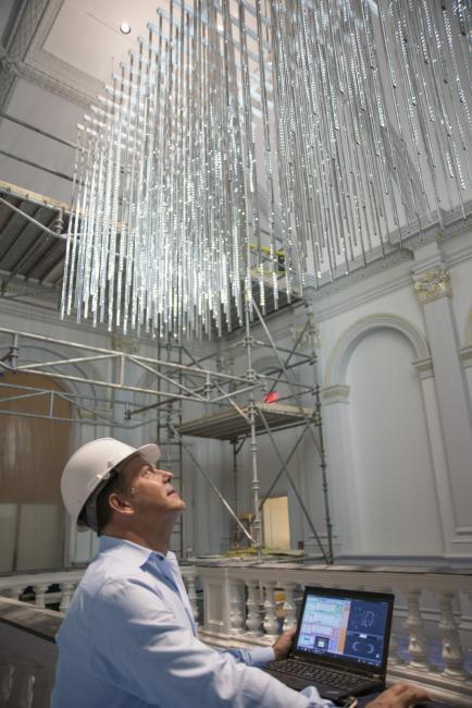 Leo Villareal installing Volume at the Renwick Gallery for WONDER.  (9 of 18)