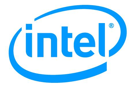 The Intel logo in blue. .