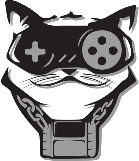 A video game logo that resembles a cat.