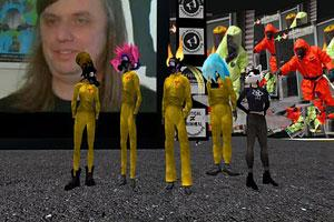 Second Life performance group, Second Front, watches the first feature film to be shown in the online world: Lynn Hershman's Strange Culture.