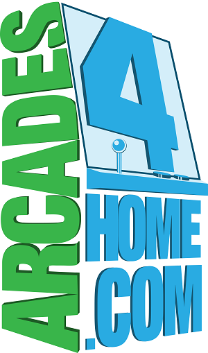 This is the logo of Aracades for Home in green and blue in the shape of a classic arcade game.