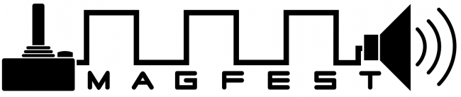 This is the logo for Magfest in the shape of a video game joystick with sound.