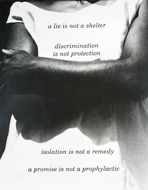 A photograph of a woman crossing her arms with words printed on top.