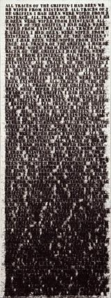 A painting that's white with small black words on it.