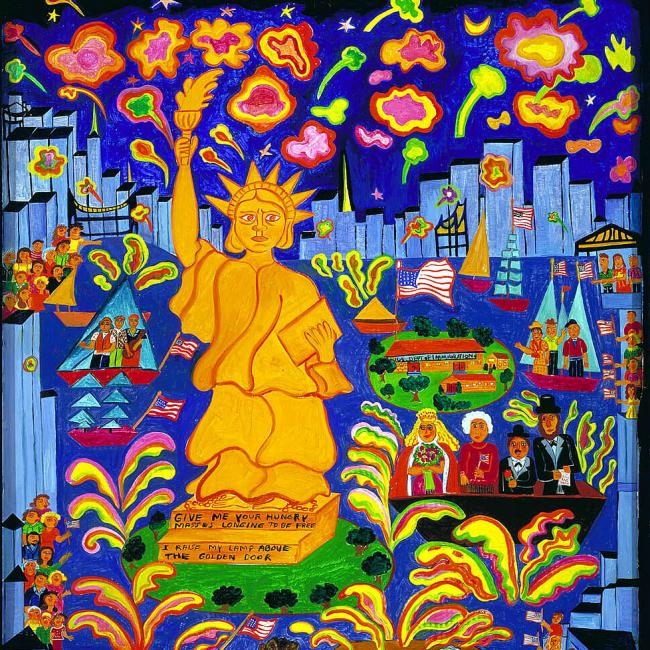 A painting of a yellow statue of liberty with decoration around it.