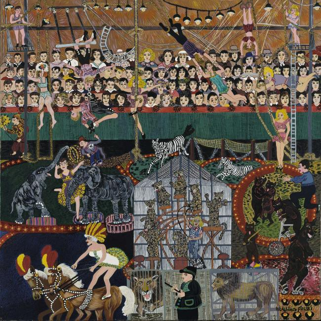 A painting of a circus with people and animals.