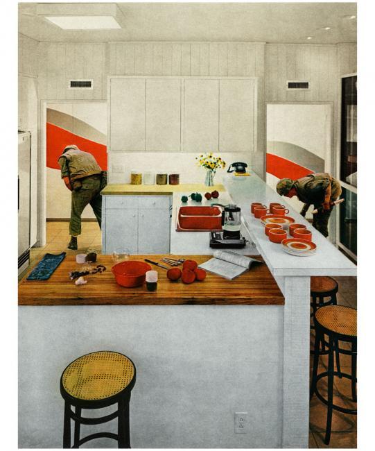 Martha Rosler, Red Stripe Kitchen