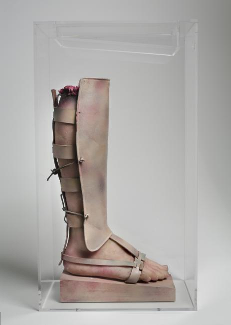 Exhibitions - Artists Respond, Paul Thek, Warrior's Leg from the series Technological Reliquaries, 1966-67, wax, leather, metal, and paint, Hirshhorn Museum and Sculpture Garden, Smithsonian Institution, Joseph H. Hirshhorn Bequest Fund, 1990. © The Estat