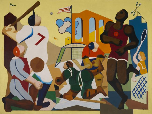 """Joseph Rugolo's painting """"Mural of Sports"""""""
