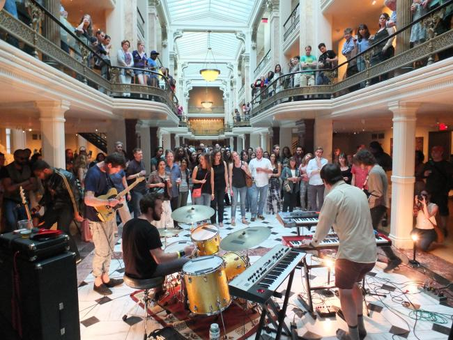 An photograph inside the Luce Foundation Center during a live performance.