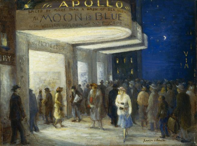 A painting of people gathered outside of an old fashioned movie theater.
