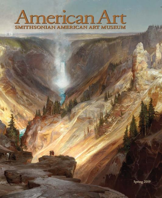 The cover of the American Art Spring 2019 Journal with a painting of the Grand Canyon of Yellowstone.