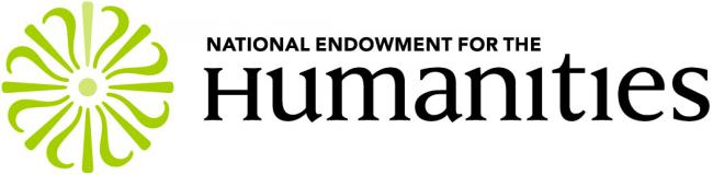 The National Endowment for the Humanities logo in black with a green circular form.
