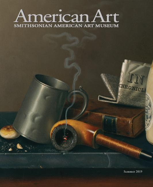 A photograph of a magazine cover of a painting with a pipe and glass.