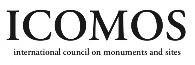 The ICOMOS logo in black