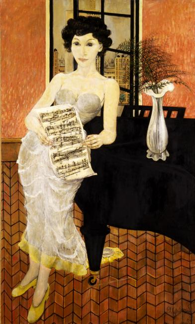 A painting of a woman standing next to a piano.