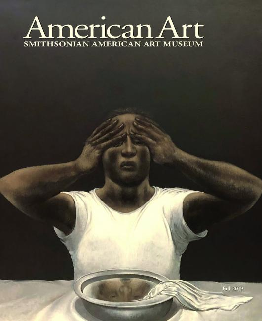 The cover of the American Art Fall 2019 Journal with a painting of a man holding his head sitting at a table..