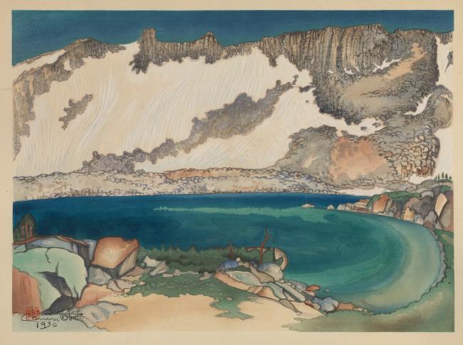 Exhibitions - Chiura Obata, Lake Basin in the High Sierra, 1930, color woodcut on paper, 11 3/8 x 15 5/8 inches, Smithsonian American Art Museum, Gift of the Obata Family, 2000.76.25, © 1989, Lillian Yuri Kodani.